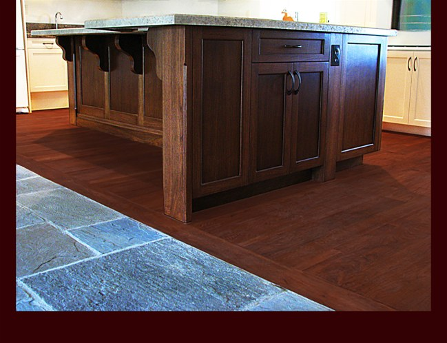 Walnut Kitchen Island with Wilson Art laminated countertop. Chamfered corner detail.