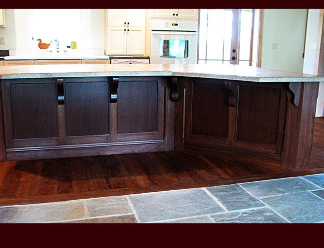 Walnut Kitchen Island with Wilson Art laminated countertop. Full Back Panels with brackets and end posts.